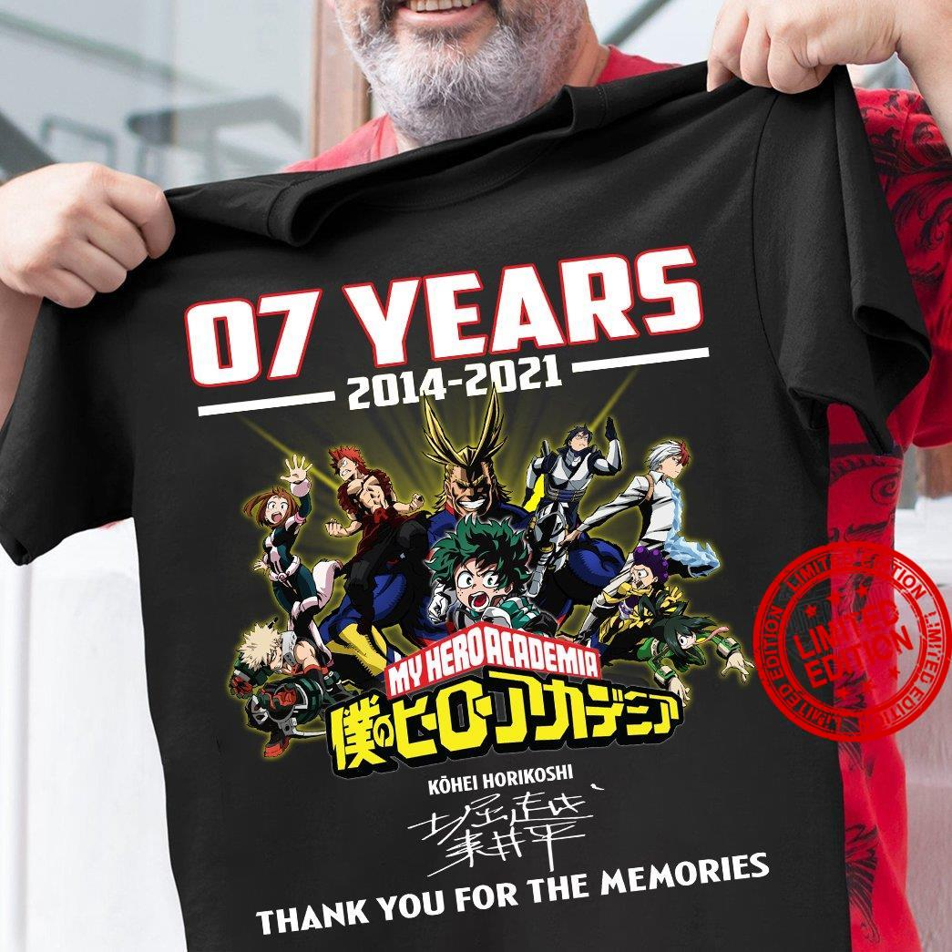 07 Years 2014 2021 My Hero Academia Thank You For The Memories Shirt
