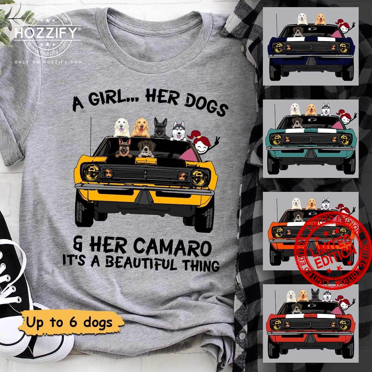 A GIrl Her Dogs Her Camaro It's A Beautiful Thing Shirt