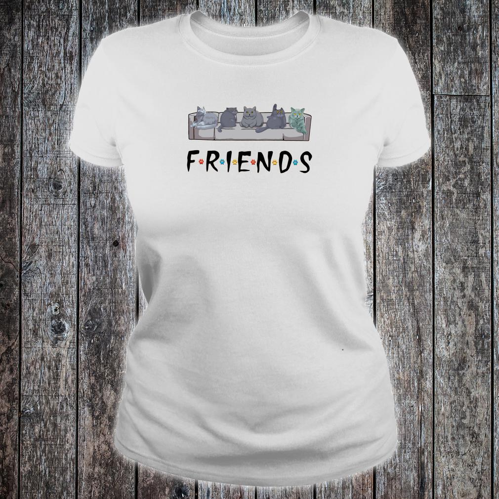 Grey cats on the sofa friends shirt ladies tee