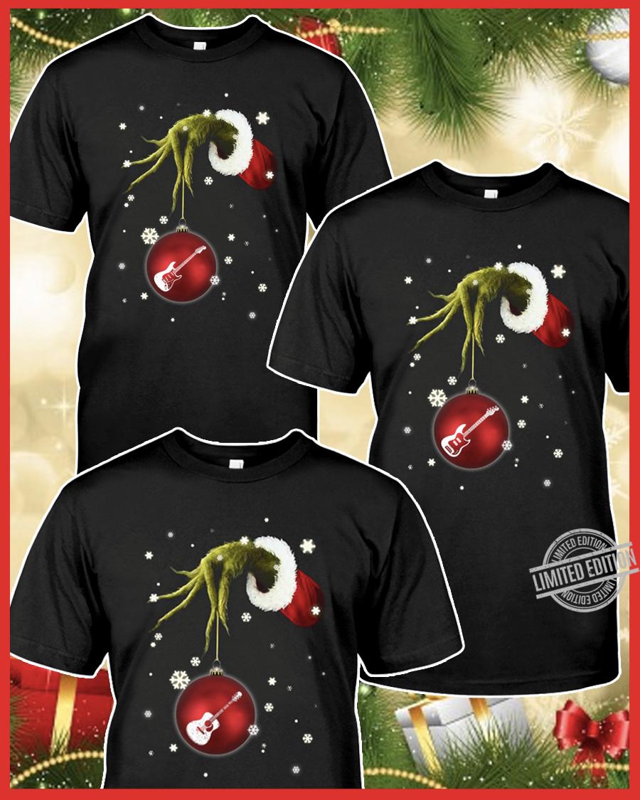 Grinch Hand Holding Guitar Christmas Shirt