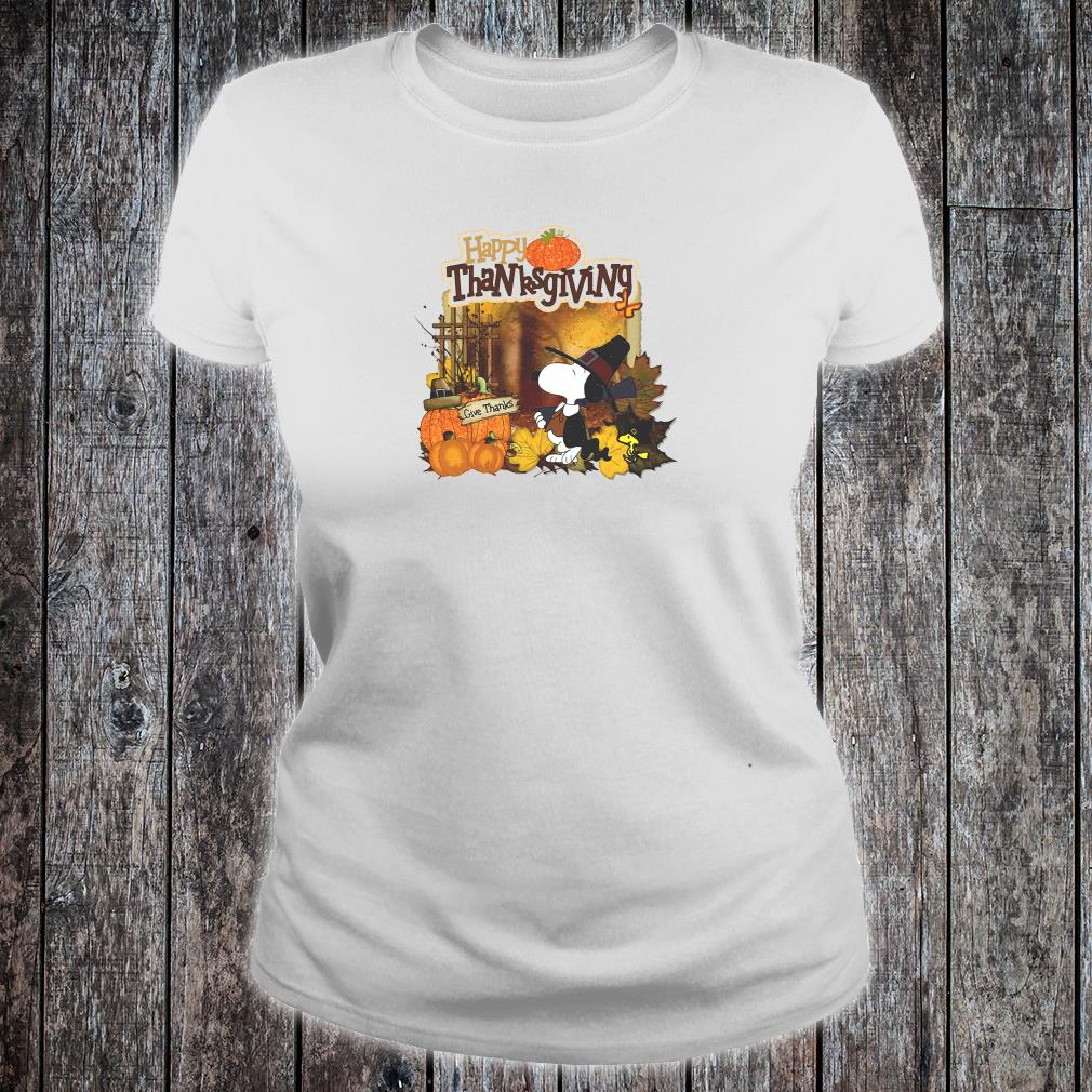 Snoopy and Woodstock happy thanksgiving shirt ladies tee