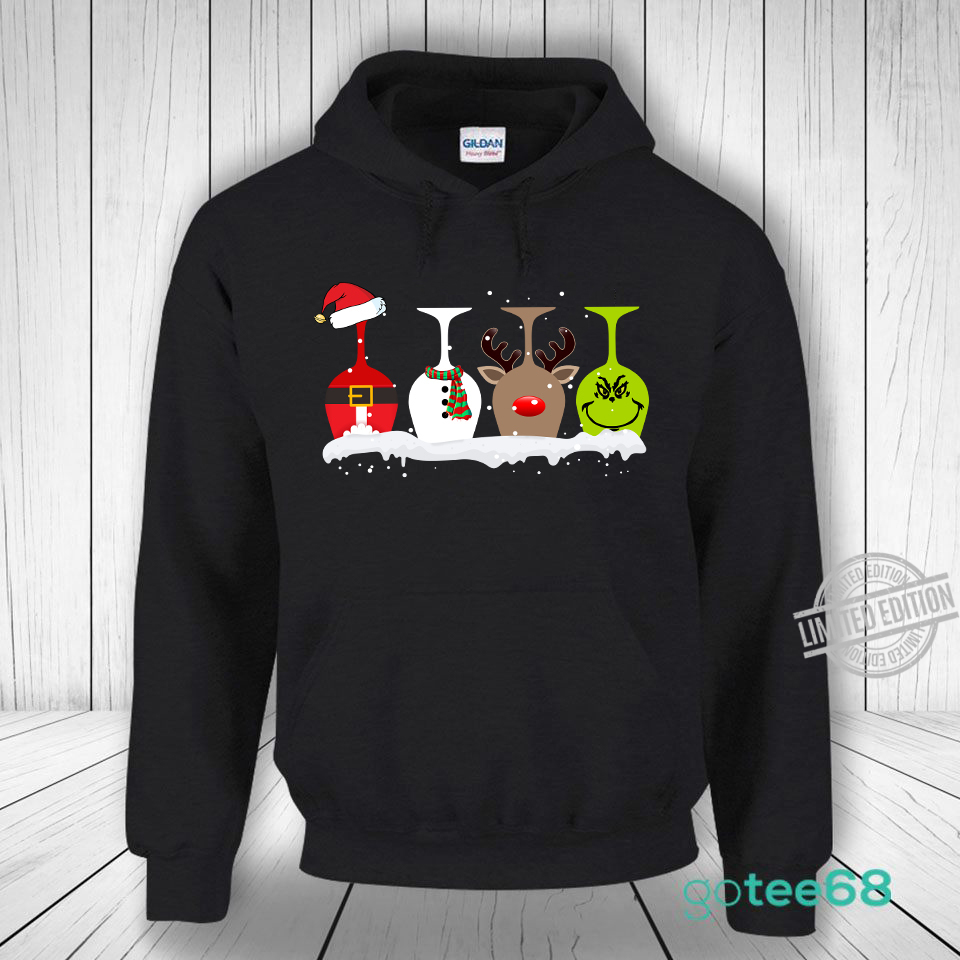 Wine 4 Glasses Christmas Shirt